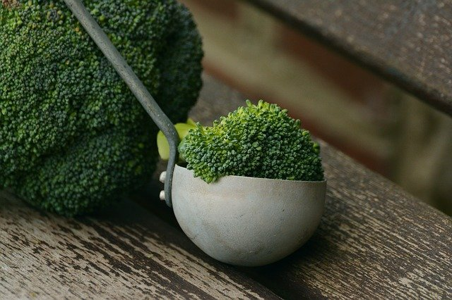 A piece of broccoli sitting on top of a wooden table